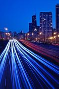 Blue Car. Prints - Chicagos Lake Shore Drive Print by Steve Gadomski