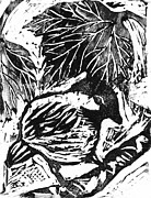 Lino Art - Chick-a-Dee  block print by Ellen Miffitt