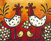 Chickens Posters - Chick Talk Poster by Renee Womack
