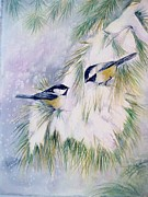 Birds In Snow Posters - Chickadee Chat Poster by Patricia Pushaw