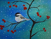 Snowy Trees Paintings - Chickadee Cutey by Leslie Allen