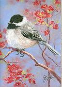 Pink Blossoms Pastels Posters - Chickadee in Bloom Poster by Grace Goodson