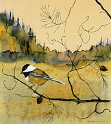 Wildlife Tapestries - Textiles Prints - Chickadee In Dancing Pine Print by Carolyn Doe