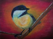 Chickadee Pastels Framed Prints - Chickadee in Sunset Framed Print by Maureen Rostad