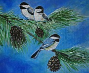 Snowy Trees Paintings - Chickadees by Leslie Allen