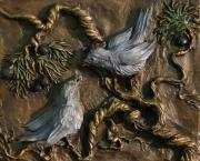 Birds Reliefs Posters - Chickadees on Juniper with Berries Poster by Dawn Senior-Trask