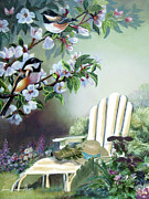 Blue And White Originals - Chickadees with cherry blossoms in garden  by Gina Femrite
