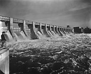 Economic Framed Prints - Chickamauga Dam Spillway Was Built Framed Print by Everett