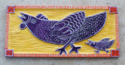 Folk Art Reliefs Prints - Chicken and Chicken Little Print by James Neill