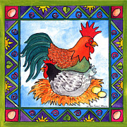 Pamela Corwin Art - Chicken and Rooster by Pamela  Corwin