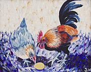Cockerel Paintings - Chicken Family by Sophy White
