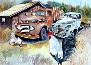 Old Barns Paintings - Chicken Feed by Bobby Walters