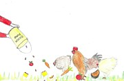 Rooster Drawings Acrylic Prints - Chicken feed Acrylic Print by Julie Butterworth