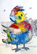 Fairy Tale Mixed Media Prints - Chicken Little Print by Mindy Newman