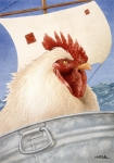 Humor Painting Posters - Chicken Ship... Poster by Will Bullas