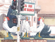 Rooster Painting Prints - Chickens at Twin Inns Carlsbad Print by Mary Helmreich