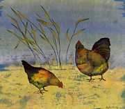 Fabric Tapestries - Textiles Framed Prints - Chickens On Silk Framed Print by Carolyn Doe