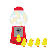 Chicks Coming Out Of A Gumball Machine Print by Bea Crespo