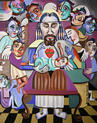 Jesus Mixed Media Prints - Chidren A Gift Frm God Print by Anthony Falbo