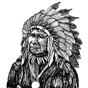 Black Pen Work Prints - Chief American Horse Print by Karl Addison