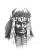 Buffalo Drawings Prints - Chief Big Face Print by Lee Updike