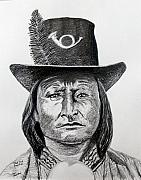 Chief Drawings Originals - Chief Bird-Arapahoe by Stan Hamilton