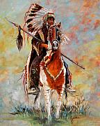 Western Painting Framed Prints - Chief Framed Print by Cynara Shelton