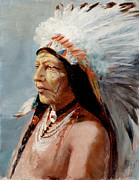 Native Americans Painting Framed Prints - Chief Flying Eagle of the Blackfoot Tribe Framed Print by Lewis A Ramsey