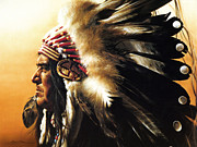 Indian Headdress Posters - Chief Poster by Greg Olsen