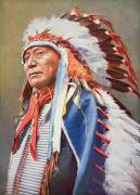 Headdress Painting Framed Prints - Chief Hollow Horn Bear Framed Print by American School