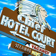 Signage Paintings - Chief Hotel Court by Anthony Ross