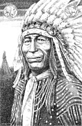 Jim Bridger Framed Prints - Chief-Iron-Tail Framed Print by Gordon Punt