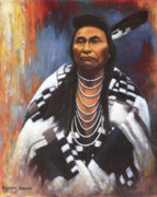 Indian Feather Framed Prints - Chief Joseph Framed Print by Harvie Brown