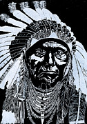 Etching Glass Art Prints - Chief Joseph Print by Jim Ross