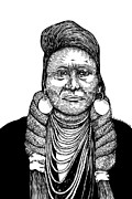 Likeness Drawings Framed Prints - Chief Joseph Framed Print by Karl Addison