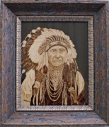 Portrait Pyrography Framed Prints - Chief Joseph Framed Print by Nedra  Denison