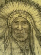 Native Chief Drawings - Chief by Mitzi Foreman