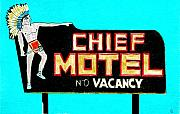 Sign Drawings Framed Prints - Chief Motel Framed Print by Glenda Zuckerman