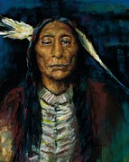 Western Art Pastels - Chief Niwot by Frances Marino