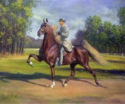 Saddlebred Posters - Chief of Spindletop Poster by Jeanne Newton Schoborg