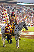 Doak Campbell Framed Prints - Chief Osceola and Renegade on Bobby Bowden Field Framed Print by Frank Feliciano