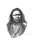 Native Chief Drawings - Chief Ouray by Lee Updike