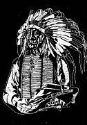 Portraiture Glass Art Prints - Chief Red Cloud 2 Print by Jim Ross