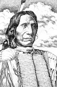 Pen And Ink Drawings For Sale Framed Prints - Chief-Red-Cloud Framed Print by Gordon Punt