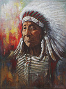 Historical Painting Originals - Chief Red Cloud by Harvie Brown