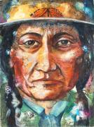 Fine American Art Mixed Media Prints - Chief Sitting Bull Print by Patricia Allingham Carlson