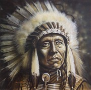 Native-american Mixed Media Prints - Chief Print by Tim  Scoggins