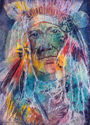 Mixed Media Art Paintings - Chief Two Moons I by Patricia Allingham Carlson