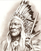 Photorealism Mixed Media Prints - Chief Washakie Print by Michael Mestas
