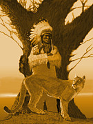 Robert Bissett Prints - Chief with Cougar Print by Robert Bissett